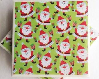 Ceramic Tile Resin Coasters:Santas/Santa coasters/Santa ceramic tile coasters/Holiday coasters/Christmas coasters/Resin coasters/coaster set