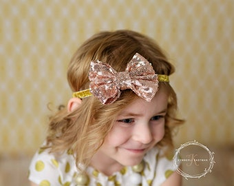 Pink hair bow, sequined bow, bow headband, pink bow headband, pink bow headband, Hair bows, Hair clips, bow clip, pink bow clip, baby bow