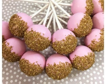 12 Pink and Gold Cake Pops for Bachelorette, Ballet, Ballerina, Princess, Fairy, Baby Shower, Gatsby, mint, glitter, unicorn, 21st, Quince