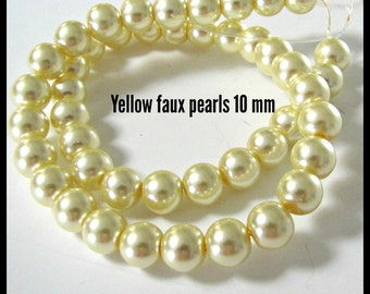 Yellow Pearl Beads, Yellow Celestial Pearl Beads , 10 mm Pearls, 16 inch strand, Glass Pearls, Item #614