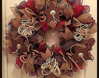 Rustic Star Burgundy, Burlap and Chocolate Deco Mesh Wreath/Burgundy, Burlap and Chocolate Wreath/Star Wreath/Rustic Wreath