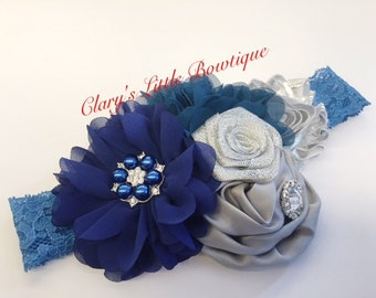 Holidays Headband, Christmas, wedding, Props, Blue and Silver, Rhinestones, Diadema, BabyGirl, Toddler, My first Christmas, Santa, Valentine