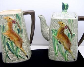 Vintage L Batlin & Son Leaping Gazelle Tea Coffee Pot and Milk Pitcher Set