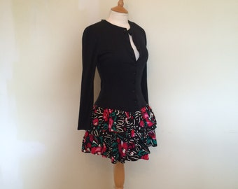 Classic 1980s long sleeved mini dress with floral ra ra skirt size S