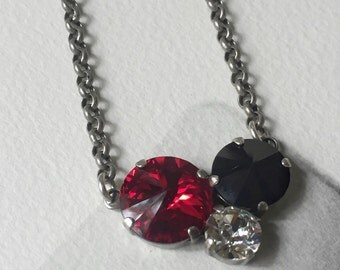 Red and Black Crystal Necklace