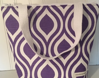 Lunch Bag, Lunch Tote, Purple Bag, Insulated Food Bag