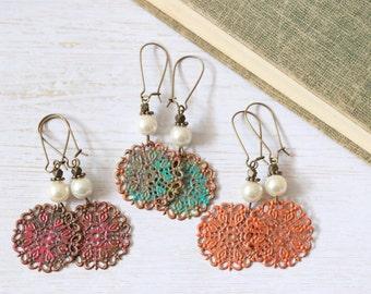 Boho patina lace filigree earrings with pearls // bohemian romance rustic shabby verdigris trendy earrings boho chic gypsy soul wanderlust