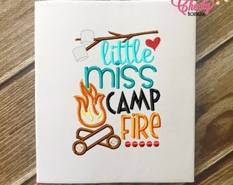 SAMPLE SALE, Little Miss Campfire Embroidered Shirt - Girls Camping Shirt- Canpfire - S'Mores - Summer
