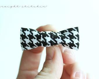 Black and White Herringbone Teensy Bow
