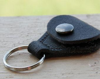 Leather Guitar Pick Case Key Ring, Pick Holder, Leather Keychain, Guitar Pick Add On, Genuine Leather Case