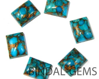 10 Pieces Blue Copper Turquoise Octagon Shape Loose Smooth Polished Gemstone