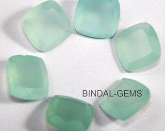 10 Pieces Lot Aqua Chalcedony Cushion Shape Faceted Cut Gemstone