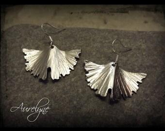 Stainless steel Earings Psylle range Ginkgo Biloba  plant dreamlike fairy elven