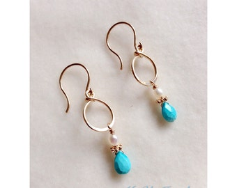 turquoise Pearl earrings , 14k Gold filled