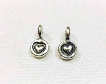 2pc 925 sterling silver heart charm, silver heart, tiny heart, heart charms
