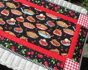 Cherry Decor, Quilted Table Runner, Cherry Kitchen Decor, Retro Decor, Hostess Gift, Handmade Table Runners, Cherries