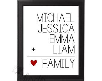 Family Names Printable, Personalized Customized Family Print, 8x10 Family Wall Art, Printable Wall Art