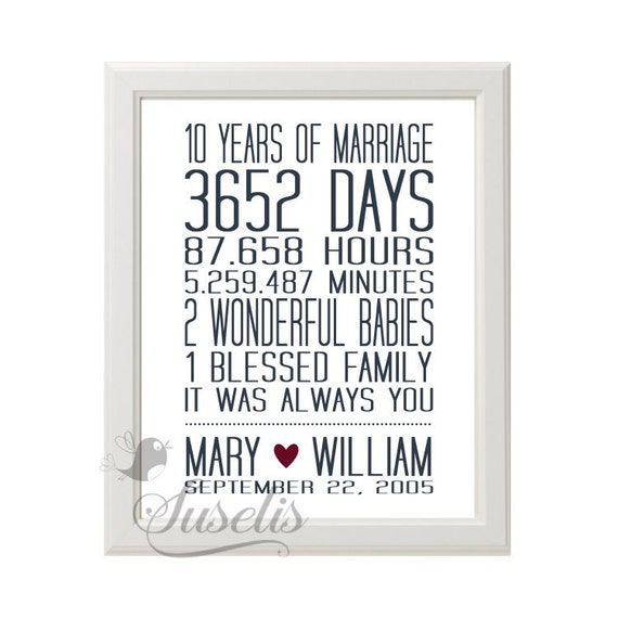 Personalized 10 Year Wedding Anniversary Print By Suselis