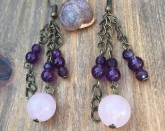 Rose quartz and amethyst chain earrings