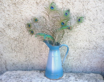 French forties 40's blue enamel jug/pitcher/ewer