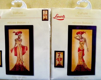 2 Cross Stitch Kits~AFRICAN FASHION 1+2~Ethnic Glamour~Lanarte:Culture~Wells~NEW