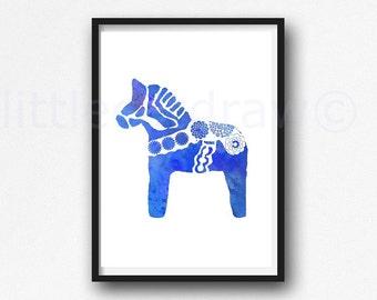 Blue Dala Horse Print Horse Watercolor Swedish Dala Horse Watercolor Painting Print Horse Lover Watercolour Wall Art Watercolor Wall Decor
