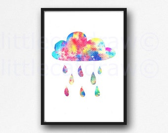 Colorful Rain Cloud Print Watercolor Painting Print Watercolour Wall Art Watercolor Nursery Decor Rain Cloud Wall Decor