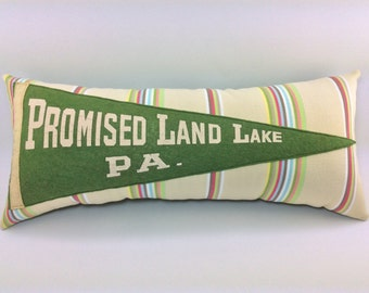 Promised Land Lake Pennsylvania Vintage Pennant Pillow 18 inches