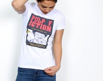 PULP FICTION Tank Top // T Shirt // pencil drawn alternative movie poster // digital print on American Apparel unisex shirt