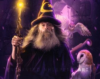 Purple digital fantasy art print Merlin with owls