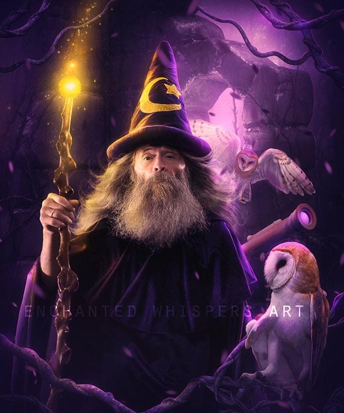 Merlin print Merlin art Wizard print Wizard art purple