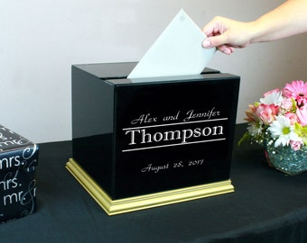Rectangle Black Painted Glass Wedding Card Box