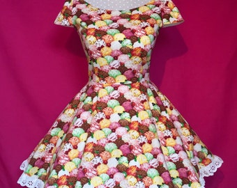 Sew Creamy...Ice Cream Scoops Sweet Lolita Skater Prom Dress with Broderie Trim Custom Made to Order