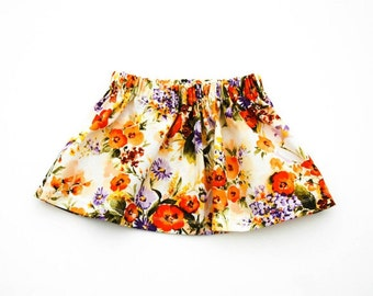 Orange floral skirt - Baby skirt - Toddler skirt -  Girls skirt - Easter baby - Spring skirt - Floral skirt - Childs skirt - Summer skirt