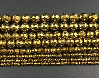 natural hematite beads, round faceted gemstone beads, gold plated hematite beads, loose stone beads 2mm 3mm 4mm 6mm 8mm 10mm 15''