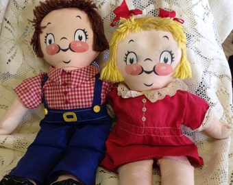 The Campbell Soup Kids  Stuffed Boy and Girl Made in the British Crown Colony of Hong Kong Vintage Campbell Soup Dolls