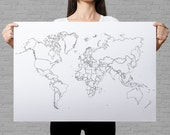 world map plain outlines poster, black and white minimalistic design, world map wall art, coloring travel map, political map of the world