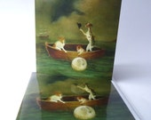 """Single Greetings Card of an original Animal painting: """"Incident off Whiby, Apprehending The Fugitive Moon, Nighttime, April 1817"""""""