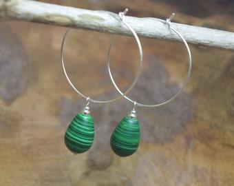 Malachite earrings, Malachite beads, Imitation malachite, Sterling silver, Dangling earrings, Hoop earrings, Silver hoops, Green earrings