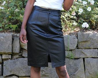 Vintage Black Leather Midi Skirt
