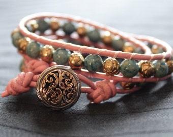 Pink Leather Double Wrap Bracelet