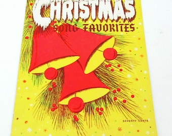 Vintage Christmas Sheet Music / Christmas Song Favorites Sheet Music Book / Mid Century Song Book