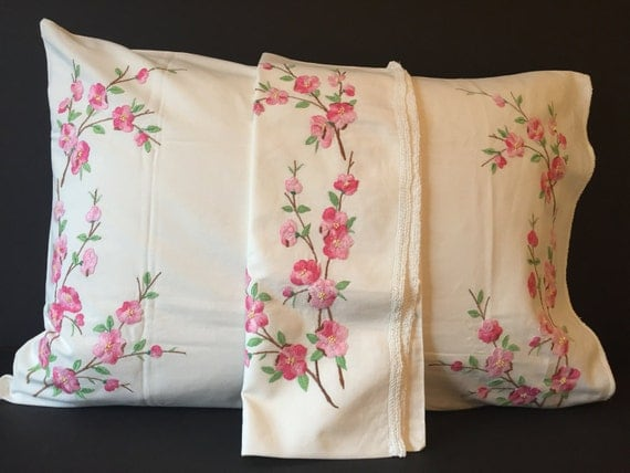 Vintage floral embroidered pillow cases handmade queen