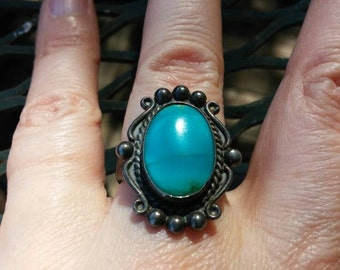 Native American Sterling Silver Turquoise Ring Size 6.75 Bell Trading Company