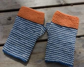 Striped fingerless mitts PDF pattern