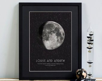 MOON PHASE PERSONALISED Print. Special Date Wedding Anniversary New Baby Fathers Day Mum Dad Gift Man on the Moon Astronomy Giclee Wall Art