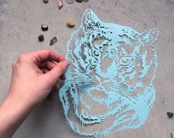 Original Handcut Paper Tiger - Blue Papercut Big Cat - Scherenschnitte Tiger - Handcut Home Decor