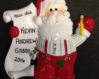Santa's Nice List Personalized Christmas Ornament