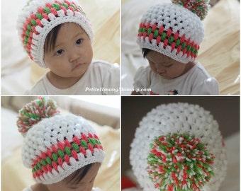 Hmong Inspired Puff Pom Pom Crochet Beanie Hat
