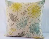 Floral Pillow Cover Gray Yellow Aqua Teal Botanical DecorativeThrow Oatmeal 16x16 18x18 20x20 22x22 12x14 12x16 12x18 12x20 14x22 Zipper